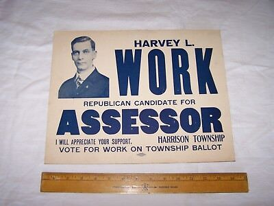 Old HARVEY L WORK for Assessor Election Sign TERRE HAUTE INDIANA Vigo Couty