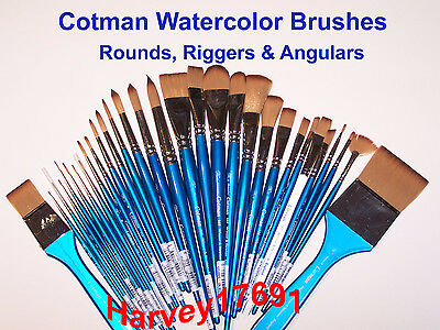 Winsor & Newton Cotman Watercolor Brushes - Rounds, Riggers & Angulars - NEW! ()
