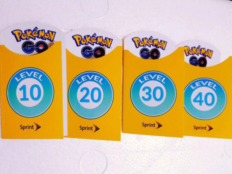 Pokemon GO Level 10 20 30 40 Trainer Patch Lot Badges Sprint Brand New Full Set