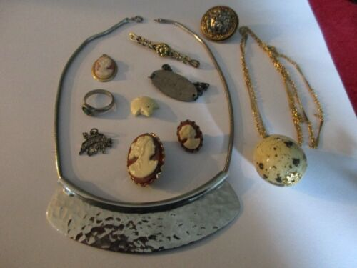LOT COSTUME JEWELRY FAUX CAMEO EGG BAR PIN RING CHARM