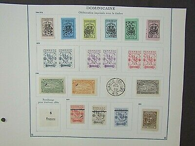 DOMINICA - FINE COLLECTION OF EARLY FOURNIER FORGERIES - ON ORIGINAL PAGE