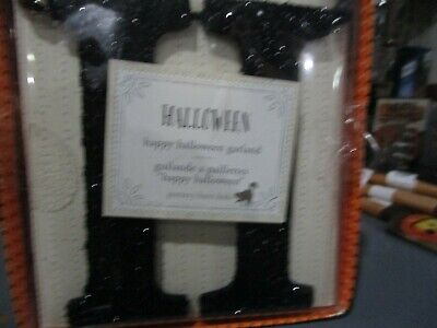Pottery Barn Kids Happy Halloween black glitter garland New