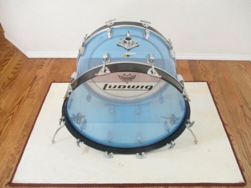 Vintage Ludwig Vistalite 22 X 14 Bass Drum, Clear Blue, 1970s - PRICE REDUCED!