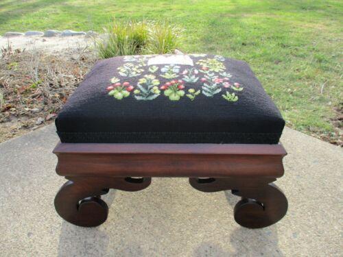 Antique American Empire Footstool/Ottoman Walnut Needlepoint 19 Century Restored