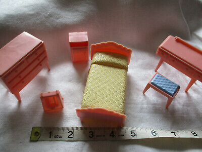 Vintage plastic dolls house furniture 1950's 5 piece  bedroom set England