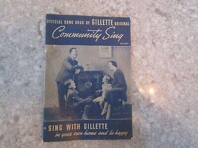 Vintage Official Song Book of GILLETTE Original, Volume 1, 1936