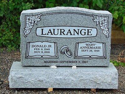 Cemetery headstone monument- 100% granite, gray- multiple engraving options