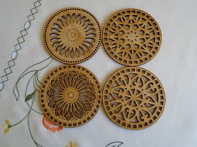 Wooden coasters set of 4- laser cut design new home gift birthday shabby chic - Wooden Coasters