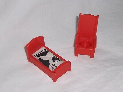 993 CASTLE VINTAGE FISHER PRICE LITTLE PEOPLE RED CASTLE HIGHBACK THRONE + BED