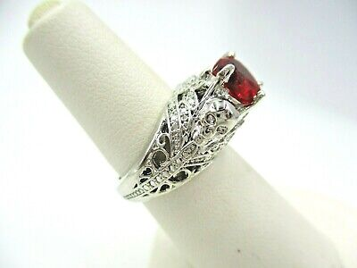 Vintage style Silver Filigree RED HEART Stone ladies ring New