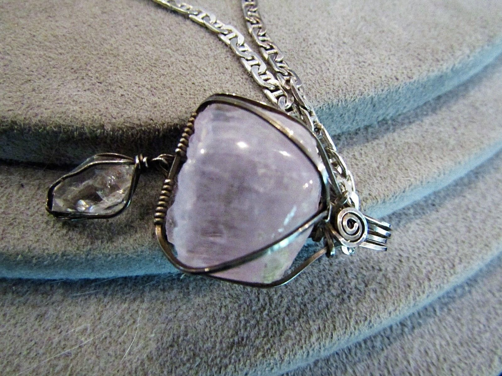 Sterling Silver Handcrafted Quartz Crystal Pendant Necklace 18