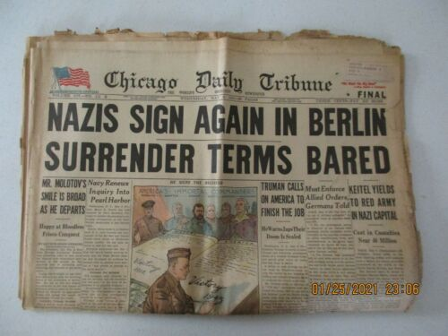WWII May 9, 1945 Chicago Daily Tribune Newspaper
