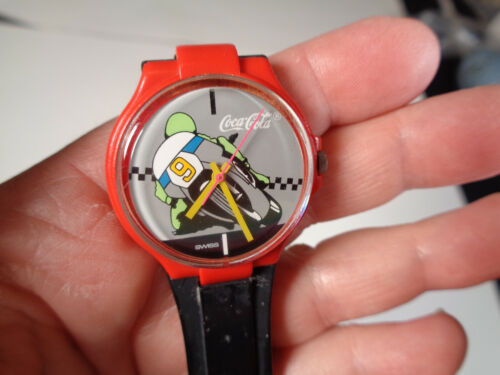 Vintage Coca Cola Swatch Watch Motorcycle Racer