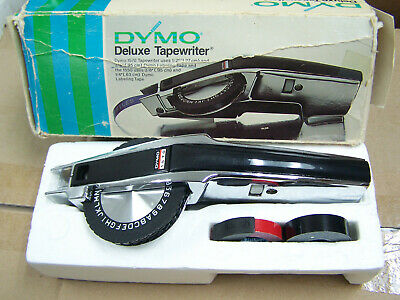 Dymo 1570 Chrome Tapewriter Label Maker Labeller W Red And Black Rolls Tape