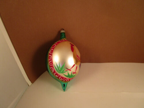 Vintage Large Blown Glass Rooster Teardrop Christmas Ornament