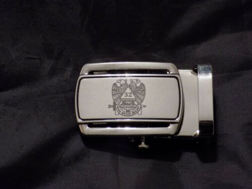 """Masonic Brown Leather Ratchet Belt & Buckle Scottish Rites Fits up to 60"""" NEW!"""