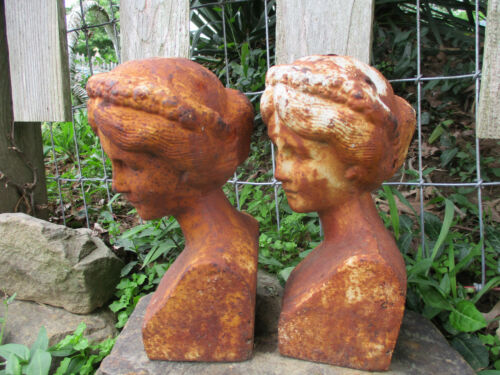 EXQUISITE & OLD MAIDEN BUSTS CAST IRON GARDEN FENCE FINIALS CRACKLY WHITE PAINT