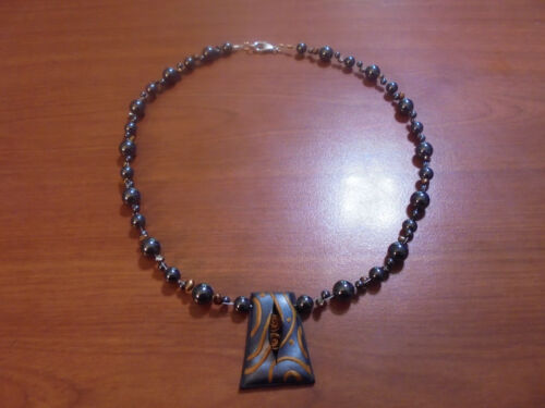 """Vtg Sterling silver hematite pearl polymer clay pendant necklace 18"""" 36.7 grams"""