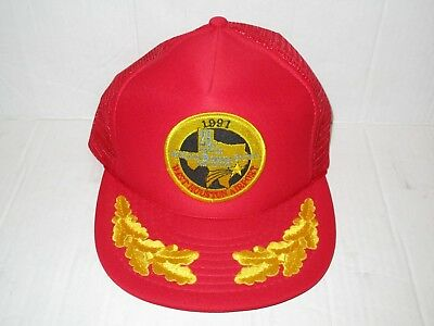 Vintage 1991 American Bonanza Society Houston Airport Trucker Hat Cap Red Used
