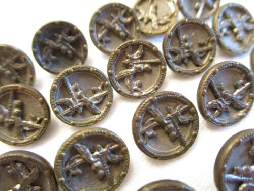 SET of 19 Antique AUSTRIAN SMALLS Brass Victorian CLOTHING BUTTONS
