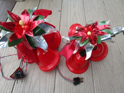 2~Vintage 3 Red Plastic Christmas Bell Twinkling Light Cluster USA