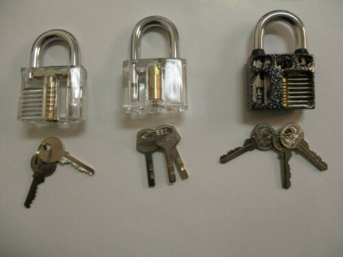 3pcs Transparent Visible Cutaway Practice Padlock Training Locks-NEW