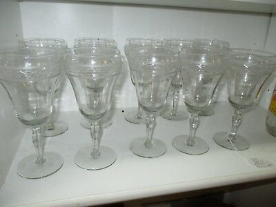 SET OF NICE CRYSTAL RIBBED WATER GOBLET  GLASS  ETCHED GLASS (10)