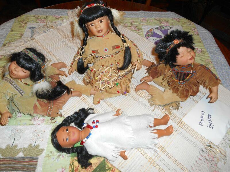 4-Native American Dolls, used