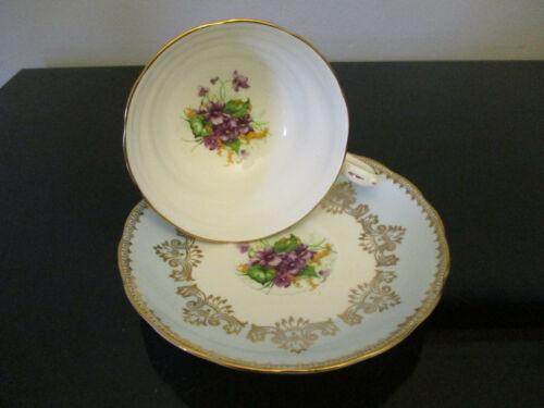 Vintage Grosvenor English Bone China Purple Violets Gold Gilt Cup & Saucer!