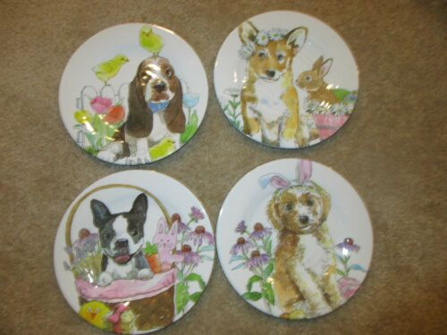 4 Melamine Dog Bunny Easter Plates BASSET HOUND Beagle Boston Terrier NEW