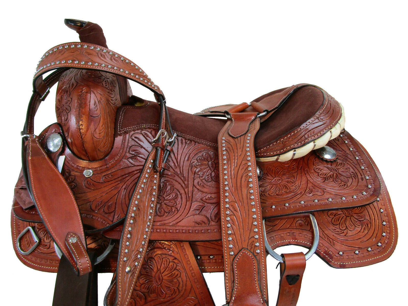 WESTERN SADDLE ROPING HORSE PLEASURE RANCH FLORAL TOOLED LEA