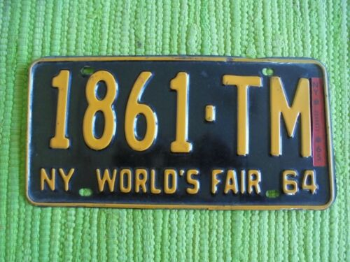 1964 New York Worlds Fair License Plate 64 w/ 65 Reg NY Tag 1861-TM