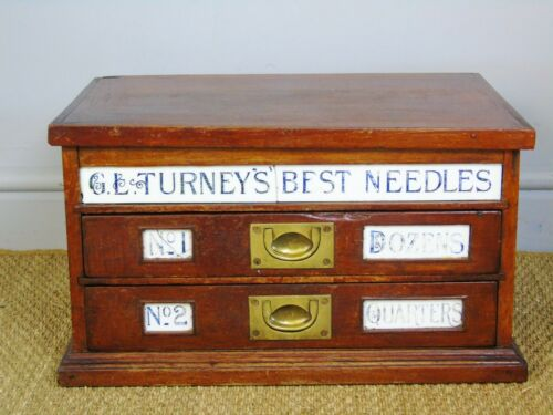 Antique Mahogany Counter Top Turneys Needle Box Haberdashery