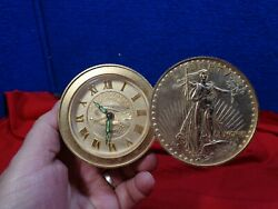 Vintage BULOVA Travel Desk Alarm Clock Gold $20 Coins Wind Up Lady Liberty
