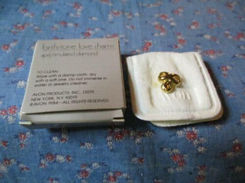 NIB Avon 1984 Birthstone Love Charm April Simulated Diamond