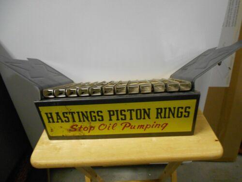 VINTAGE HASTINGS PISTON RINGS METAL CATALOG/MANUAL DISPLAY RACK- OIL ADVERTISING