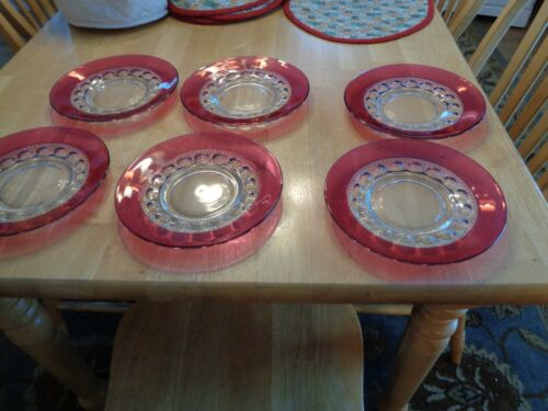 RUBY CRYSTAL VINTAGE SET OF 6  8 INCH LUNCHEON PLATES