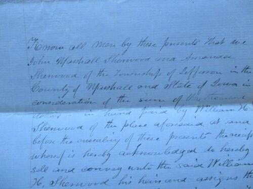 1858 Sherwood,Judge Smith,Griffin,Thos. Mercer Signed Marshalltown,Iowa REP deed