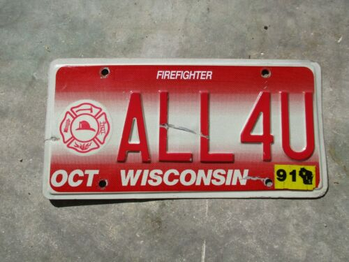 Wisconsin  1991 Firefighter license plate  #   ALL 4 U