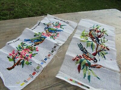 Vintage Birds in Trees Tapestries x 2 Both Hand Embroidered & Ready to Frame