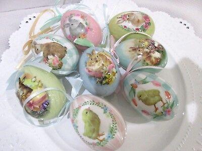 Easter Egg Ornaments (Primitive Vintage Style Hanging Easter Eggs Egg Ornaments Tree Decor Qty of)