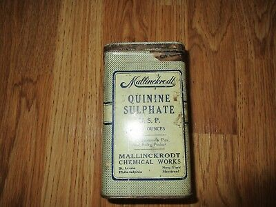 (Nice Old Tin Pharmaceutical Medicine MALLINCKRODT QUININE SULPHATE Empty)