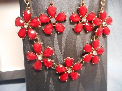 COVINGTON NECKLACE AND EARRING SET RED NIB FROM SEARS JEWELRY ()