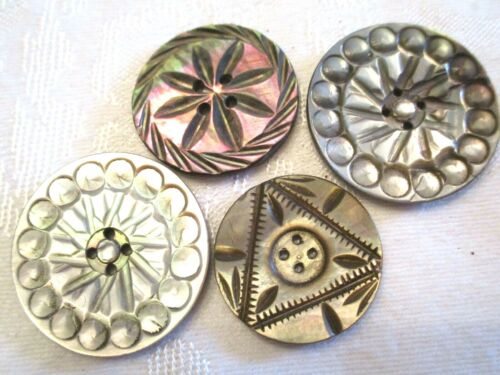 4 CARVED Antique MOTHER OF PEARL SHELL Clothing BUTTONS - LARGE & FANCY