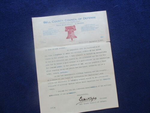 1918 George Tyler (Texas Historian,Senate)Texas signed WW1 draft content Letter!