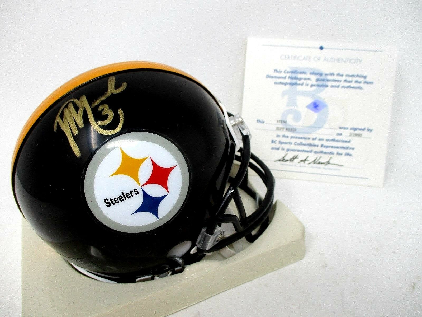 Riddell Jeff Reed #3 Pittsburgh Steelers Mini Helmet With COA