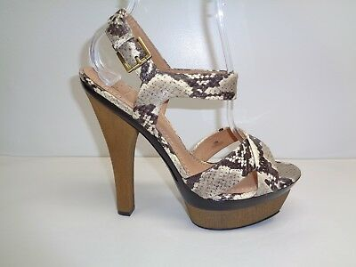 Pelle Moda Size 9.5 MYRTLE Snake Print Leather Platform Sandals New Womens Shoes