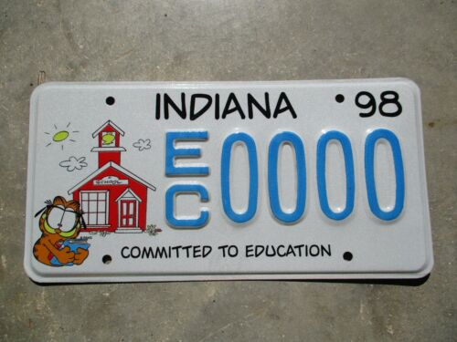 Indiana 1998 Garfield Sample license plate #  0000