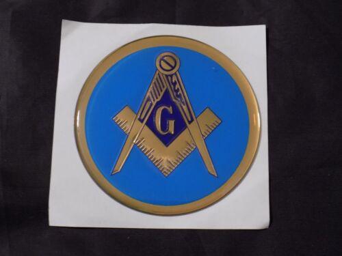 "Masonic 3"" Gel Car Emblem Master Mason Square Compass Blue Fraternity NEW!"