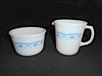 Corning Pyrex Sugar Bowl and Creamer Blue Floral Design Corning, NY